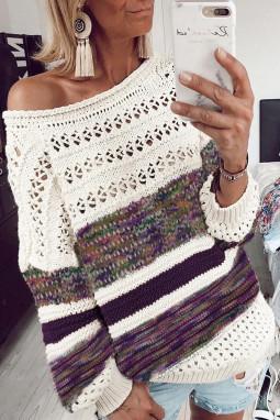 紫色时尚条纹宽松镂空长袖套头毛衣