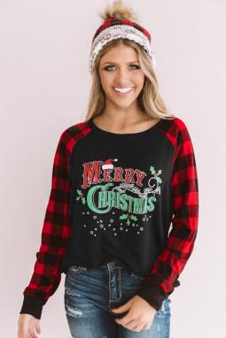 经典格纹拼接长袖圣诞快乐字母黑色舒适套头衫