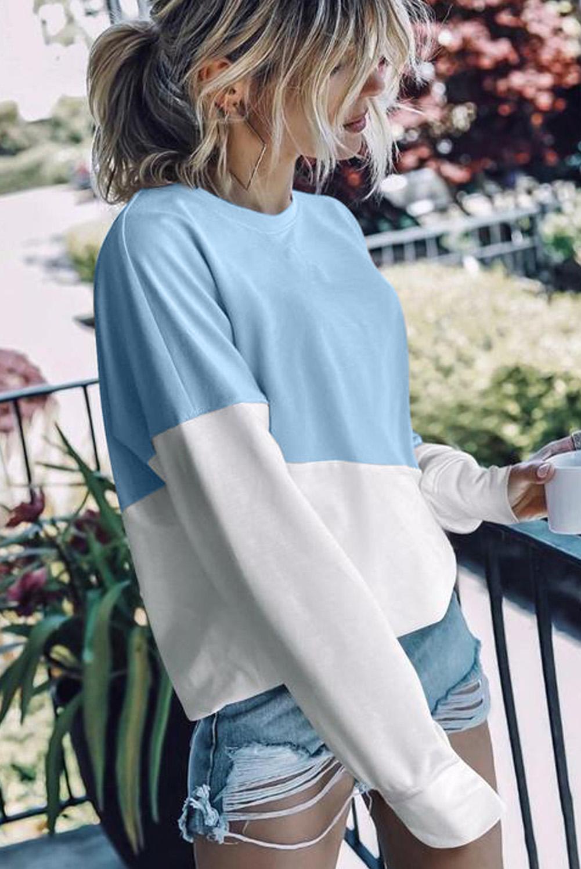天蓝色圆领长袖撞色简约宽松套头卫衣 LC2531107