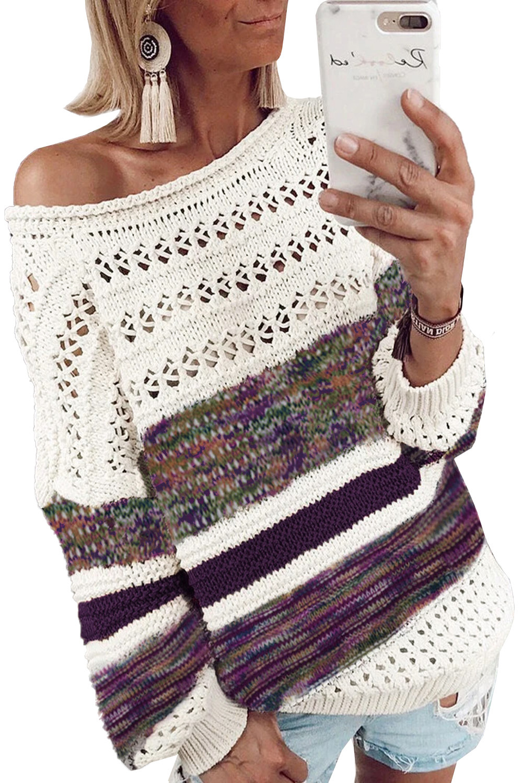 紫色时尚条纹宽松镂空长袖套头毛衣 LC272080