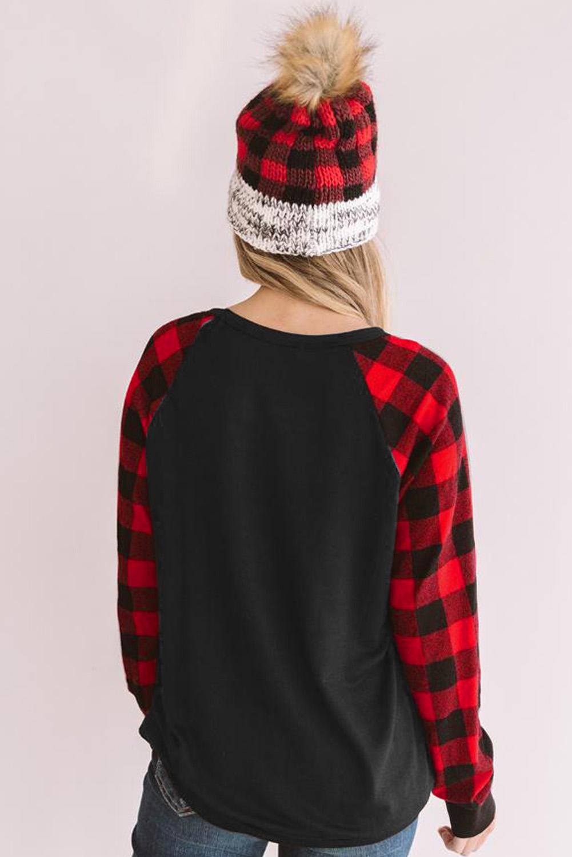 经典格纹拼接长袖圣诞快乐字母黑色舒适套头衫 LC2511860