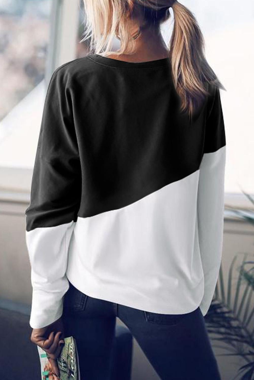 黑色圆领长袖撞色简约宽松套头卫衣 LC2531107
