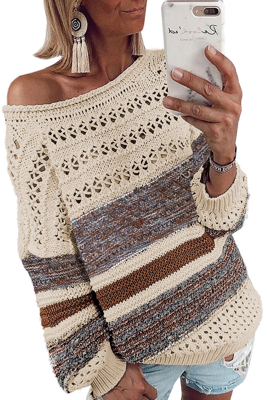 棕色时尚条纹宽松镂空长袖套头毛衣 LC272080