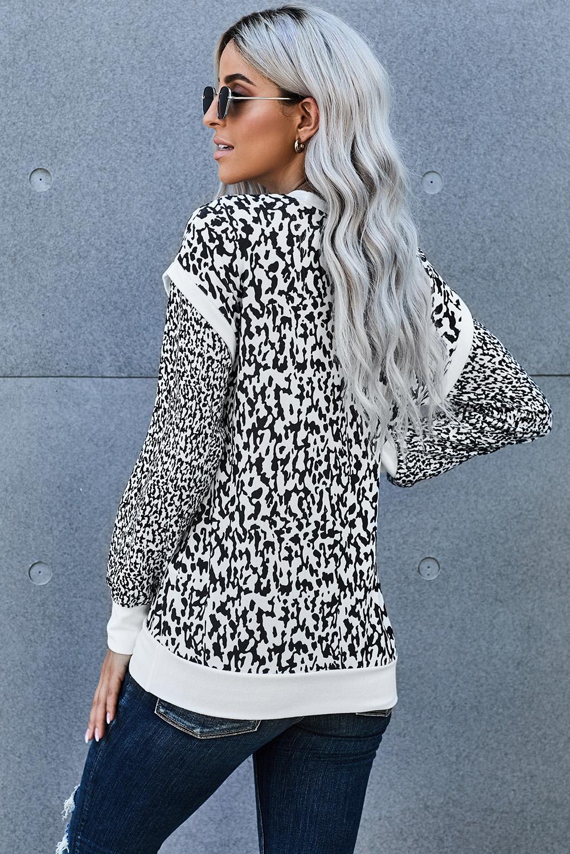 黑白豹纹印花长袖对比色修身休闲套头卫衣 LC253965