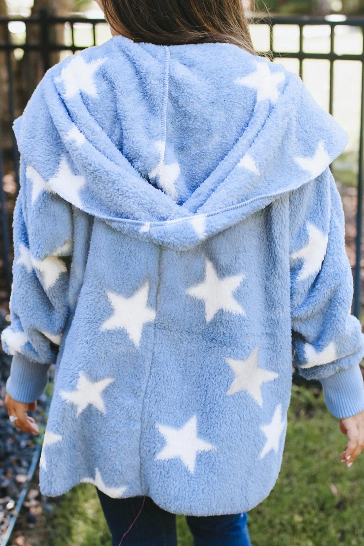 天蓝色翻领星星图案绒毛大衣外套 LC851325