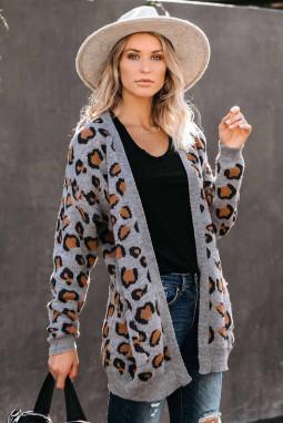 灰色长袖豹纹舒适休闲开襟衫