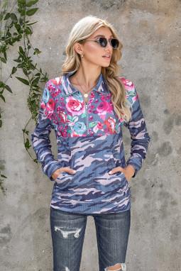 时尚迷彩花卉拉链领长袖套衫卫衣