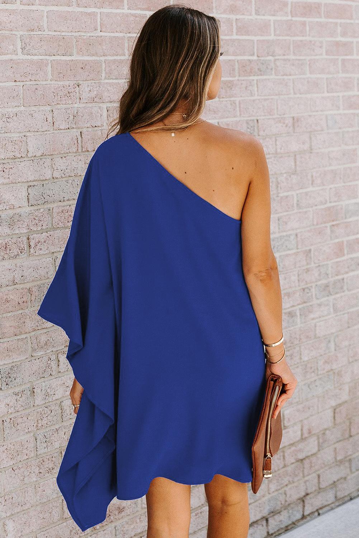 蓝色性感单肩垂坠时尚迷你连衣裙 LC222685