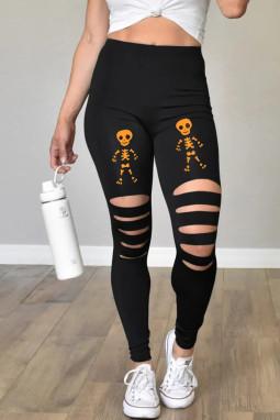 黑色镂空橙骷髅印花万圣节打底裤