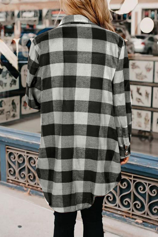 黑色时尚格纹排扣翻领衬衫外套 LC851273