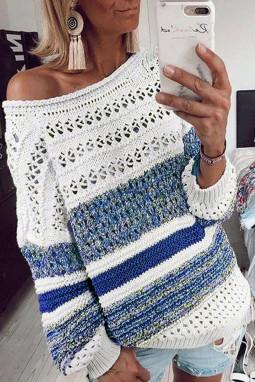 蓝色时尚条纹宽松镂空长袖套头毛衣