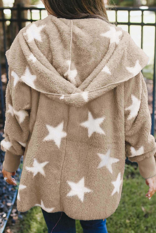 卡其色翻领星星图案绒毛大衣外套 LC851325