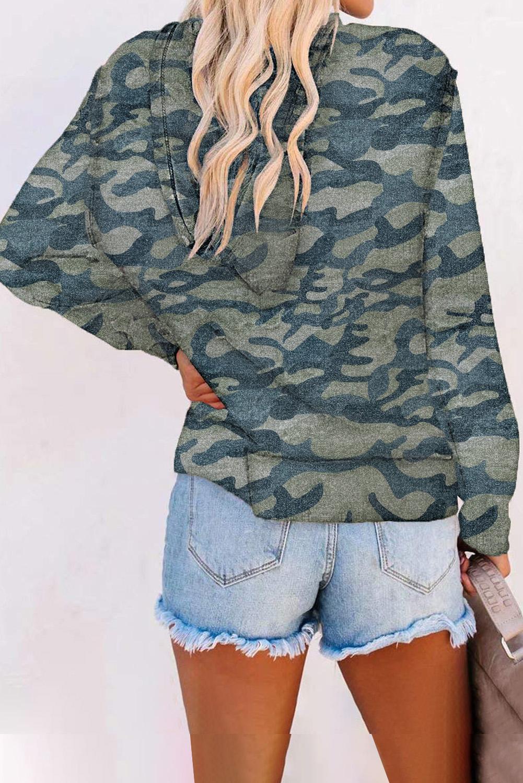 浅绿色迷彩印花拉链长袖连帽外套 LC2531396