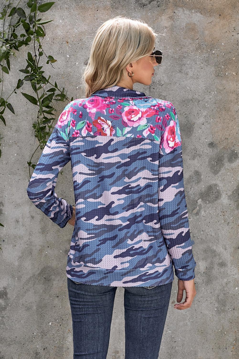 时尚迷彩花卉拉链领长袖套衫卫衣 LC253981