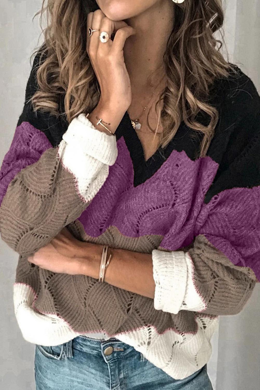 黑色V领拼色纹理针织毛衣 LC272155