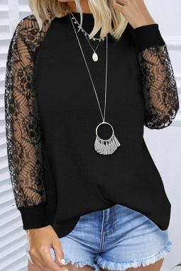 黑色优雅蕾丝拼接长袖针织套头衫