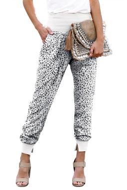 时尚豹纹宽腰口袋开叉休闲裤