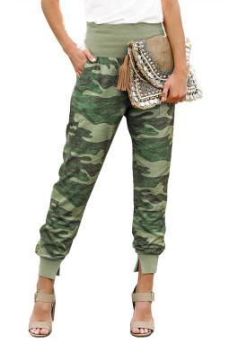 绿色迷彩宽腰口袋开叉休闲裤