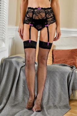 黑色精美蕾丝蝴蝶结装饰吊袜带
