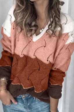 白色V领拼色纹理针织毛衣