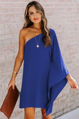 蓝色性感单肩垂坠时尚迷你连衣裙