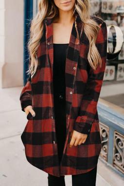 红色时尚格纹排扣翻领衬衫外套