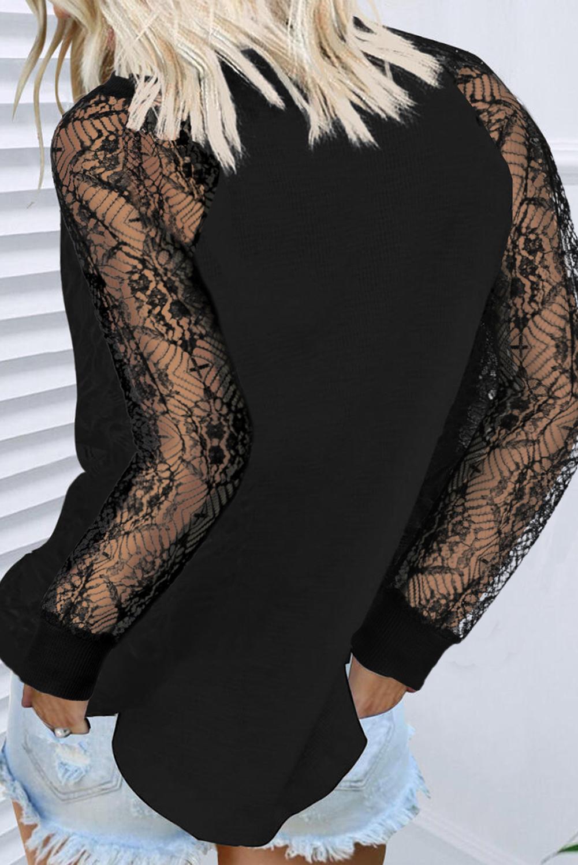 黑色优雅蕾丝拼接长袖针织套头衫 LC2512130
