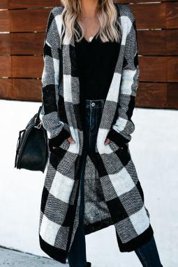经典黑白格纹时尚休闲长款开衫