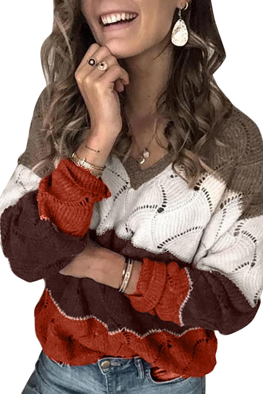 棕色V领拼色纹理针织毛衣 LC272155