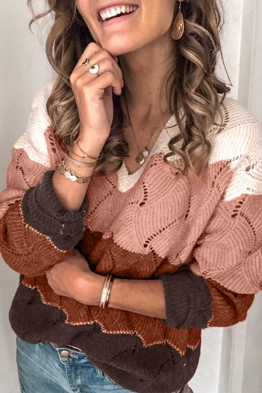 白色V领拼色纹理针织毛衣 LC272155