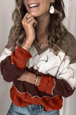 棕色V领拼色纹理针织毛衣