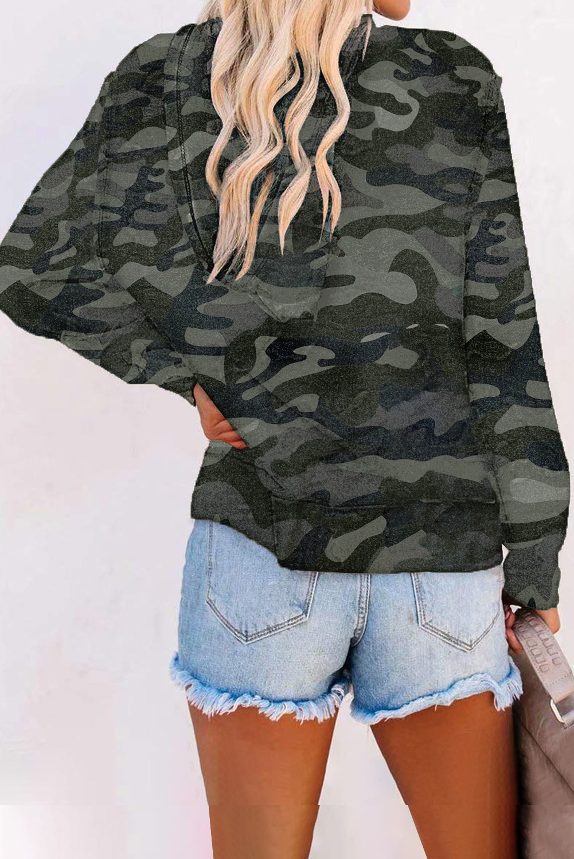 深绿色迷彩印花拉链长袖连帽外套 LC2531396