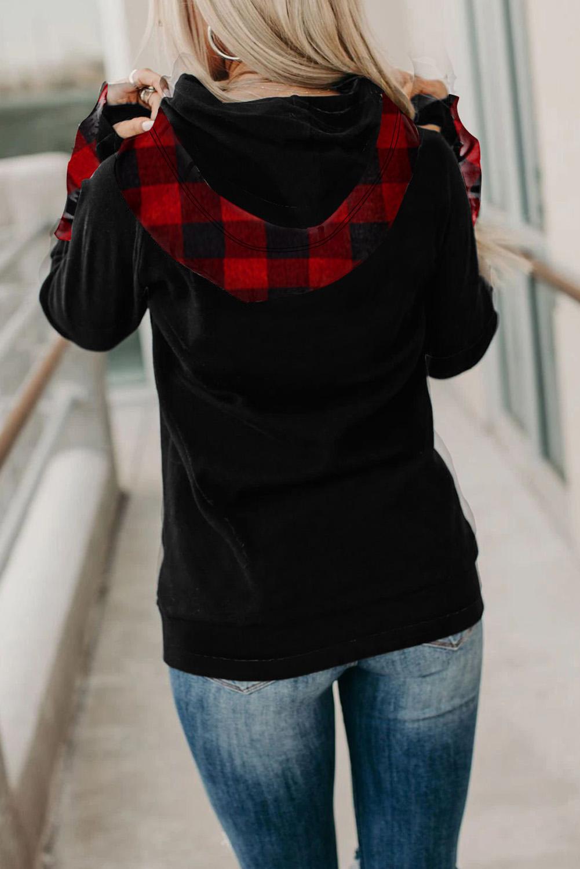 经典格纹拼接拇指长袖拉链抽绳双层连帽衫 LC253915