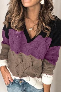 黑色V领拼色纹理针织毛衣