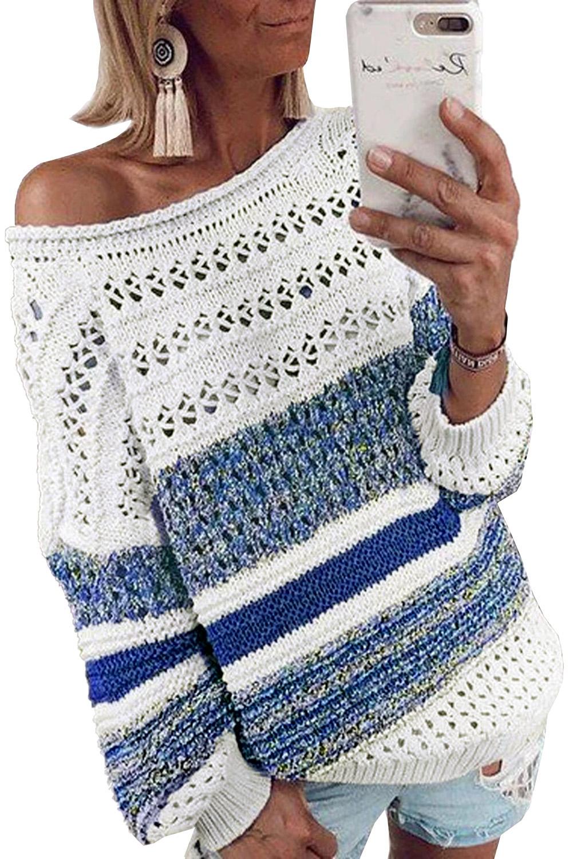 蓝色时尚条纹宽松镂空长袖套头毛衣 LC272080
