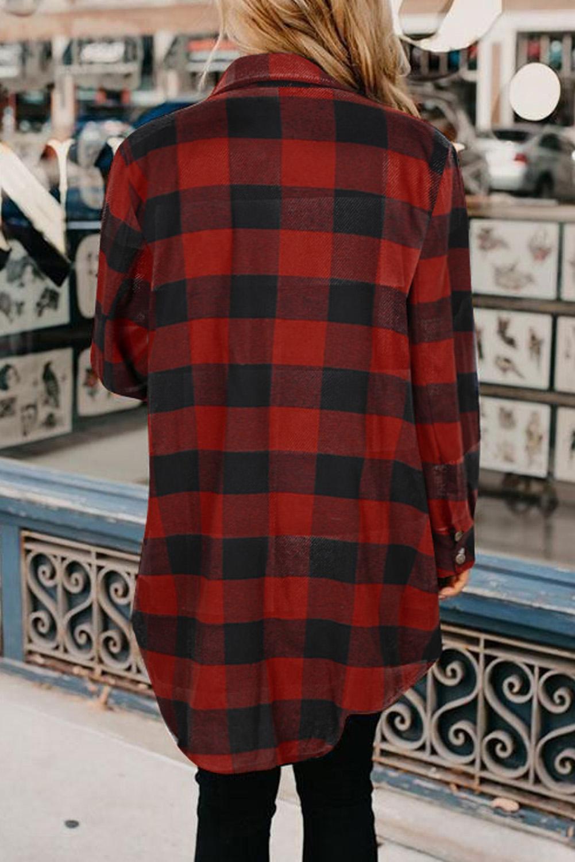 红色时尚格纹排扣翻领衬衫外套 LC851273