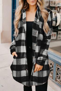 黑色时尚格纹排扣翻领衬衫外套