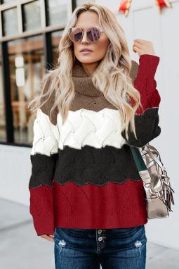 时尚舒适撞色高领长袖蓬松保暖秋冬毛衣