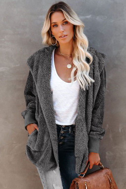 深灰色开衫长袖含口袋柔软毛羊休闲连帽外套