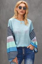 时尚撞色条纹长袖天蓝色宽松圆领套头衫