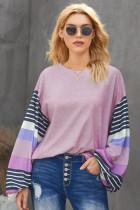 时尚撞色条纹长袖紫色宽松圆领套头衫