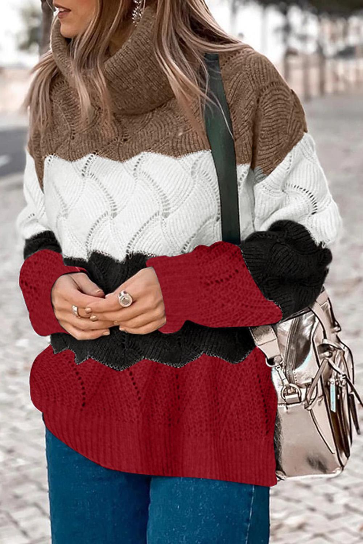 时尚舒适撞色高领长袖蓬松保暖秋冬毛衣 LC272175