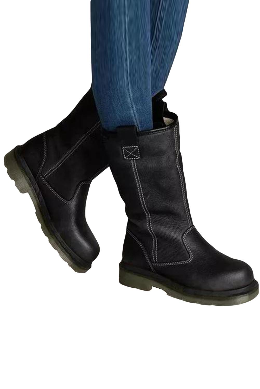 黑色人造皮革保暖平底靴 LC12451