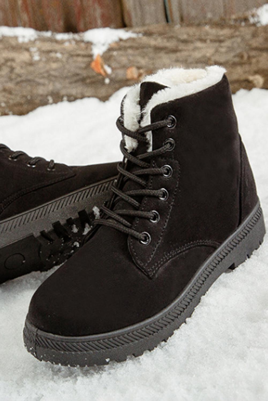 黑色麂皮革系带平底靴 LC12450