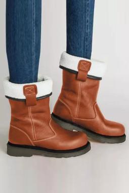 棕色人造皮革保暖平底靴