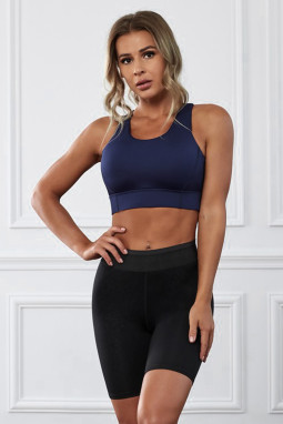 深蓝色瑜伽锻炼运动文胸