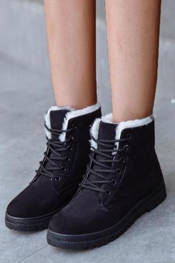 黑色麂皮革系带平底靴