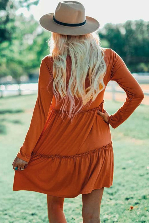 橙色长袖荷叶边飘逸迷你连衣裙 LC221815