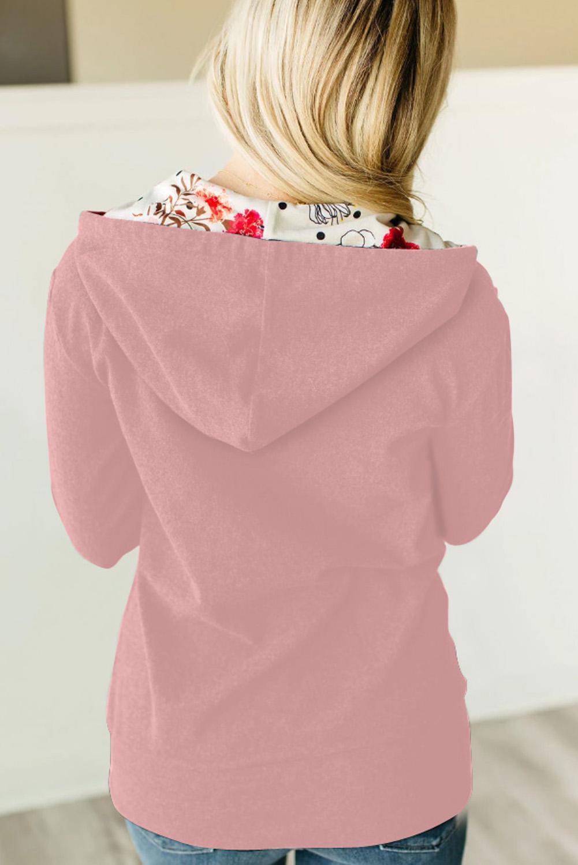 粉色休闲长袖拉链印花连帽外套 LC851326