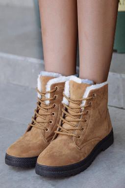 棕色麂皮革系带平底靴
